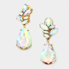 "2.50"" gold ab rhinestones crystal clip on earrings non pierced bridal prom"