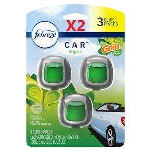 (2) 3PK Febreze Gain Scent Car Air Freshener, 6 Vent Clips FREE SHIPPING