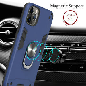 2in1 Hybrid Rugged Rubber PC Vehicle Ring Hard Case For Samsung A21 iPhone 12 LG