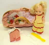 """Vintage Plastic Doll In Lined Basket Blonde Girl Made In Hong Kong 2 Outfit 7.5"""""""
