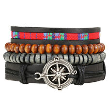 4pcs Brown Leather Tribal Beaded Cuff Wristband Bangle Bracelet for Men Women