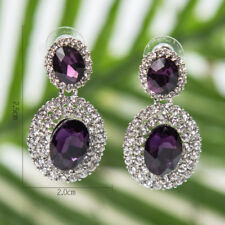 FACETED PURPLE  OVAL ACRYLIC & DIAMANTE RHINESTONE CRYSTALS DROP EARRINGS