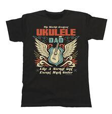 Mens ORGANIC Cotton T-Shirt Worlds Greatest UKULELE Dad Music Clothing Eco Gift