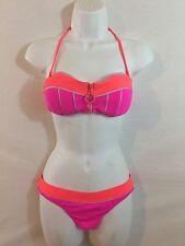 Nanette Lepore women's pink orange bikini two pice swimsuit s m padded zipper