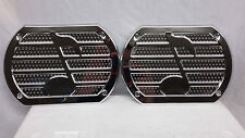 "ONE PAIR OF VINTAGE STYLE MUSIC NOTE CHROME SPEAKER COVERS 6""X9"" RADIO GRILL"