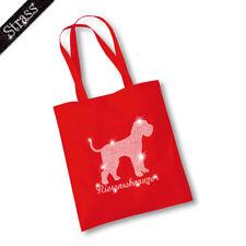Jute Bag Pouch Shopping Bag Bag Rhinestone Dog Giant Schnauzer M1