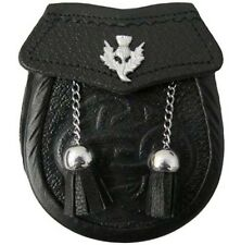 Celtic Embossed Baby  Sporran Thistle On Flap With 2 Tassels Free Chain Belt