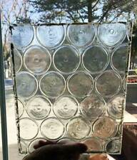 2 Antique  ARCHITECTURAL - BOTTLE GLASS / BULLSEYES PANES  - LEADED / STAINED