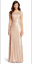 Adrianna Papell Sequined Gathered Gold Prom Dress Short Cap Sleeve sz 6 NWT NUDE
