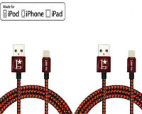 2 Pack Lightning Cable Heavy Duty 10FT Charger for Apple iPhone X 5 6s 7 8 Plus