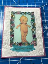 Get Well Card Gotta Smile At Kewpie Sparkled With Jewels Handmade