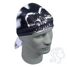 Airbrushed Black White Skull Headwrap Sweatband Durag Biker Cap Free Shipping