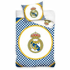 Real Madrid CF Azul Cuadros 100% funda edredón algodón NUEVO
