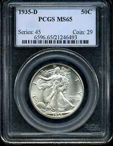 1935-D 50C Walking Liberty Half Dollar MS65 PCGS 21246493