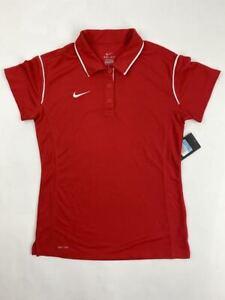 Nike Gung-Ho Tennis Polo Women's Medium Red White Three Button Dri-Fit 476325