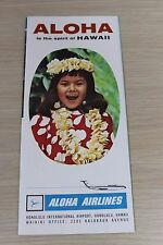 VTG Aloha is Spirit of Hawaii Aloha Airlines with Map Travel Souvenir Brochure