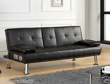 Sofa Bed Faux Leather Cupholder 3 Seater Brown Chrome Legs