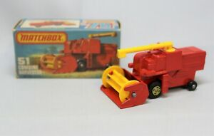 Matchbox Lesney Superfast No51 COMBINE HARVESTER with PALE YELLOW 4 SPOKE WHEELS