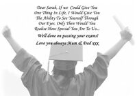 PERSONALISED UNIVERSITY / COLLEGE START & GRADUATION POEM SON / DAUGHTER  A4/A3