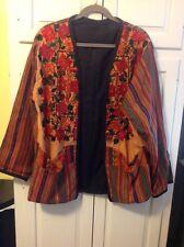 Indian Embroidered Metallic Loose Fitting Jacket Orange Black Large