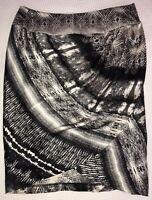 BNWT COUNTRY ROAD Skirt Black/White 100% Silk Sarong Wrap Tulip Ladies Size 4