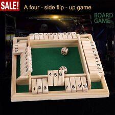 Deluxe 4-Spieler Shut The Box Holz Tisch Spiel Würfelspiel Board Spielzeug Neu