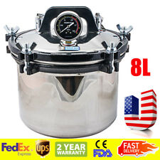 8L Portable Steam Autoclave Steel Sterilizer Dental Equipment heating Seal Pot