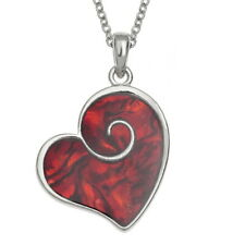 Inlaid Red Abalone Paua Shell Heart Swirl Necklace - Stunning Pendant - Boxed