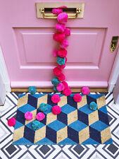 Blue Geo Door mat - Non Slip Heavy Duty Natural Coir - Rubber Backed Doormat