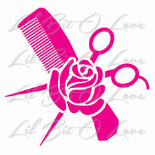 Cosmetology Hair Stylist Comb Scissors and Rose Vinyl Decal Sticker Style Salon