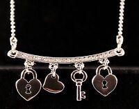 Silver Rhinestone Lock and Key Heart Pendant Necklace w/Free Jewelry Box/Ship