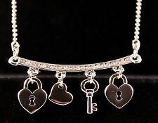 Silver Rhinestone Heart/Key/Lock Charm Pendant Necklace w/Free Jewelry Box/Ship