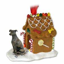 Greyhound Brindle Dog Ginger Bread House Christmas ORNAMENT