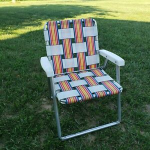 Vintage  Child's Aluminum Webbed Woven Folding Lawn Chair Blue Red Orange Yellow