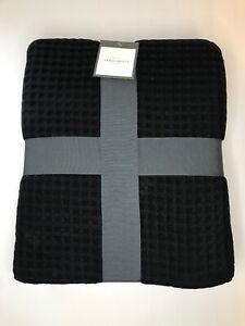 Threshold Dobby Weave Waffle Knit 100% Cotton Throw Blanket Twin Black 70x92