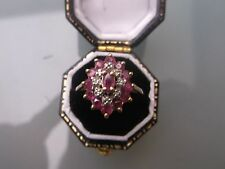 Women's Vintage 9ct Gold Ruby & Diamond Ring Weight 2g Size O Stamped