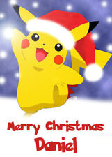 POKEMON - PIKACHU Personalised Christmas Card - Add you own name
