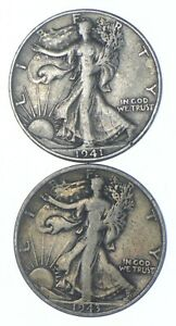1941-D & 1943-S Walking Half Dollars 90% Silver $1 Face Lot Collection *272