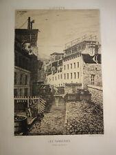 Léon JACQUE (né 1828) EAU FORTE TANNERIE BIEVRE PARIS BARBIZON FRERE CHARLES