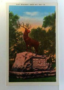 Green Bay Wisconsin Elks Monument Vintage Postcard