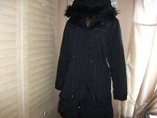 WOMEN'S H&M BLACK MIX FUR TRIM  HOOD PADDED SHOWER PROOF PARKA COAT 10-12