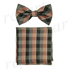 New Men's micro fiber Pre-tied Bow tie & hankie mauve gray checkers formal