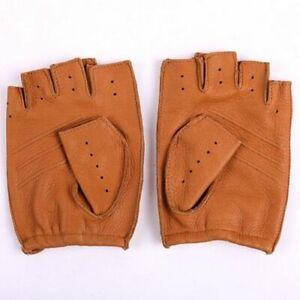 Goatskin Half Finger Genuine Leather Gloves Fingerless Gym Fitness Men Gloves
