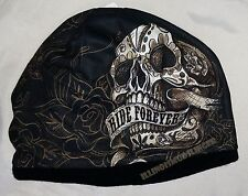 Beanie Ride Forever Banner Sugar Skull Roses Sublimated Knit Hat Cap #1005