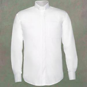 Men's Tab Collar Clergy Preacher Clerical Priest Shirt Long Sleeves *WHITE*