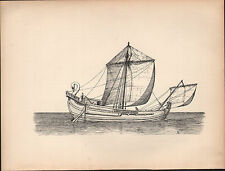 1936 SAILING SHIP PRINT ~ A ROMAN SAILING SHIP 200 A.D