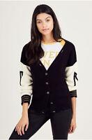 True Religion Women's Distressed Cardigan Sweater in Black
