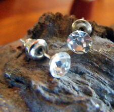 BOUCLES d'oreille PUCE clous CRISTAL strass BRILLANT 5 mm faux diamant argenté