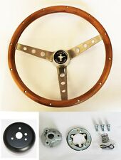 "1970 1971 1972 1973 Ford Mustang Grant Steering Wheel Wood Walnut 15"" cast cap"