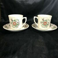 Pair of Vintage JOHNSON BROS Fleur L'Orange Cups and Saucers